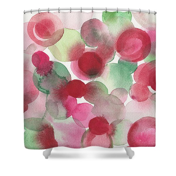 Red Pink Green Abstract Watercolor Shower Curtain