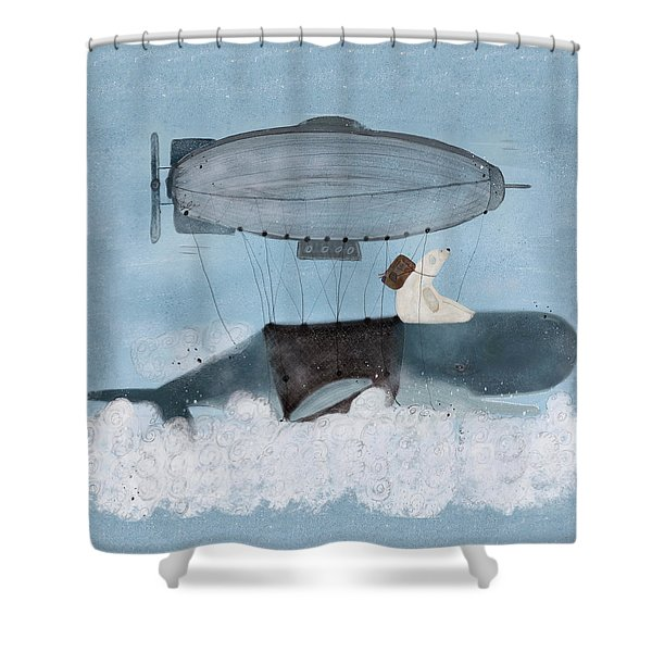 Barney And The Whale Shower Curtain