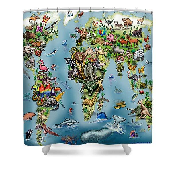 Animals World Map Shower Curtain