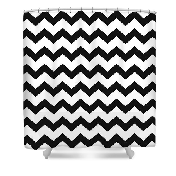 Black White Geometric Pattern Shower Curtain