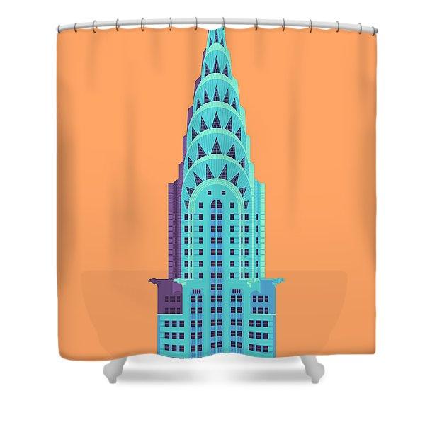 Chrysler Building - Orange Shower Curtain