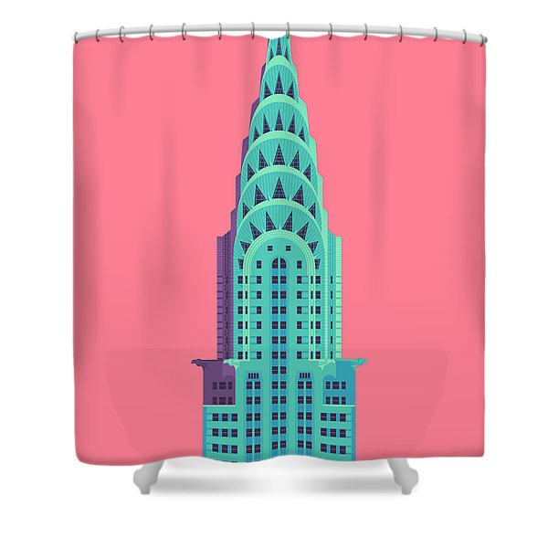 Chrysler Building - Red Shower Curtain