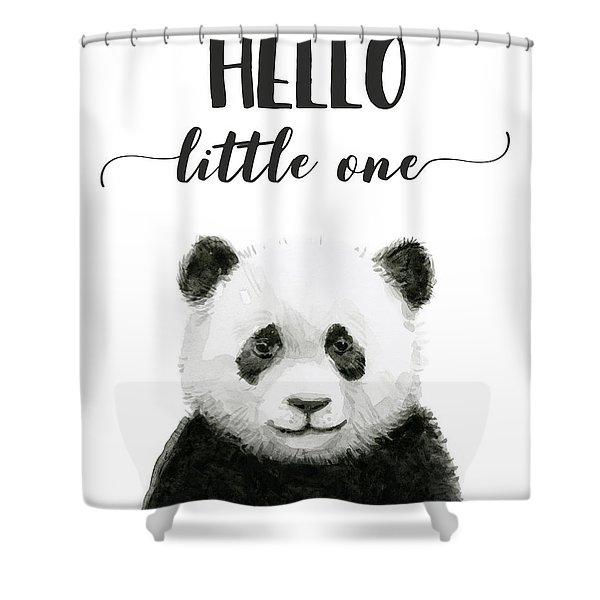 Baby Panda Hello Little One Nursery Decor Shower Curtain