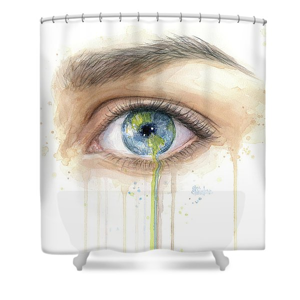 Earth In The Eye Crying Planet Shower Curtain