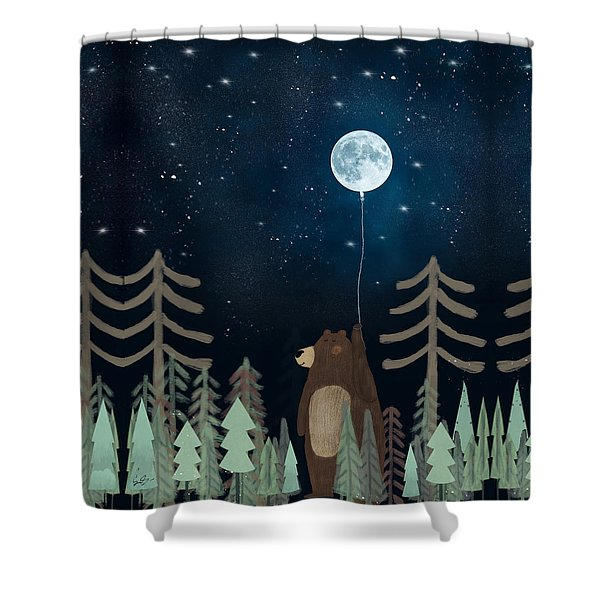 The Moon Balloon Shower Curtain