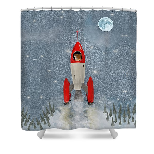 Mr Fox Goes To The Moon Shower Curtain