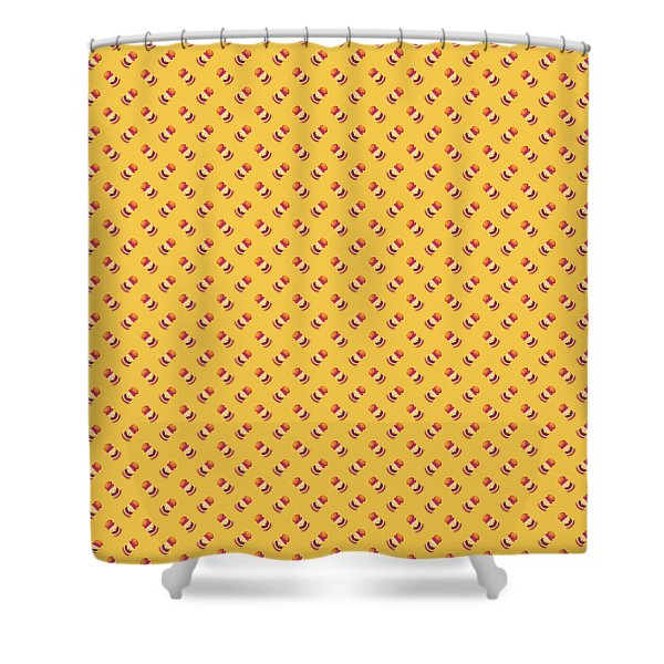 Burger Isometric Deconstructed - Yellow Shower Curtain