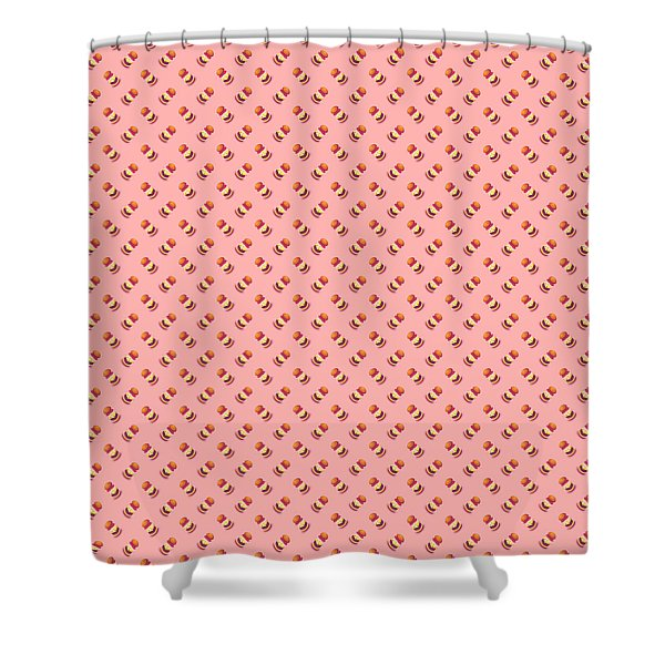 Burger Isometric Deconstructed - Salmon Shower Curtain