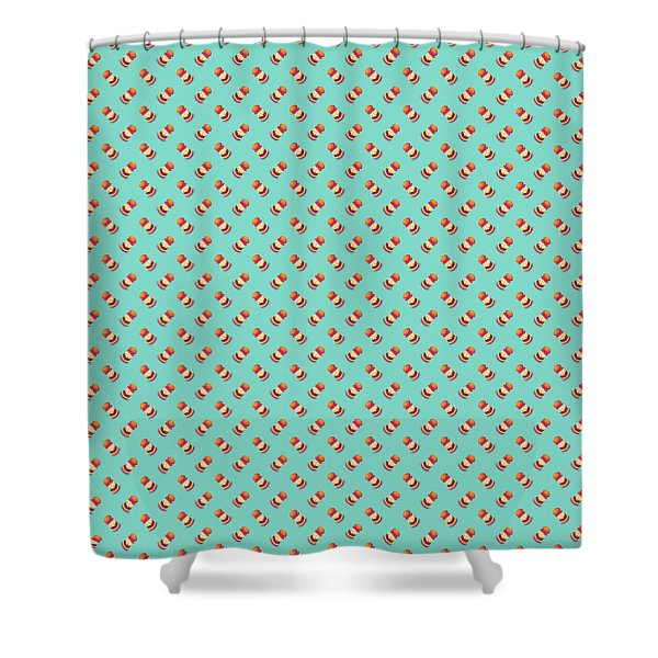 Burger Isometric Deconstructed - Mint Shower Curtain