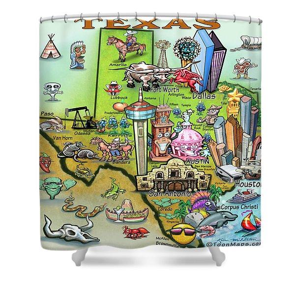Texas Fun Map Shower Curtain