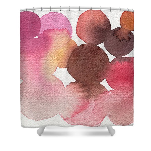 Pink Brown Coral Abstract Watercolor Shower Curtain