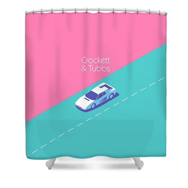 Miami Vice Crockett Tubbs - Magenta Shower Curtain