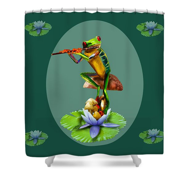 Humorous Tree Frog Playing The Flute  Shower Curtain