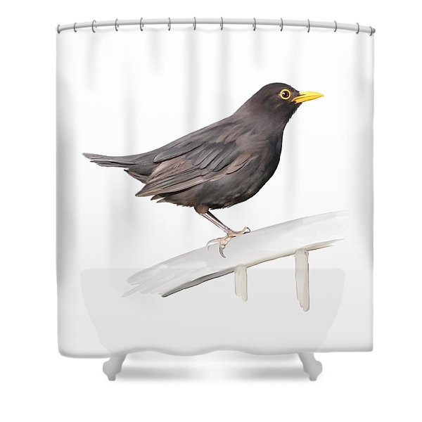 Ms. Blackbird Is Brown Shower Curtain