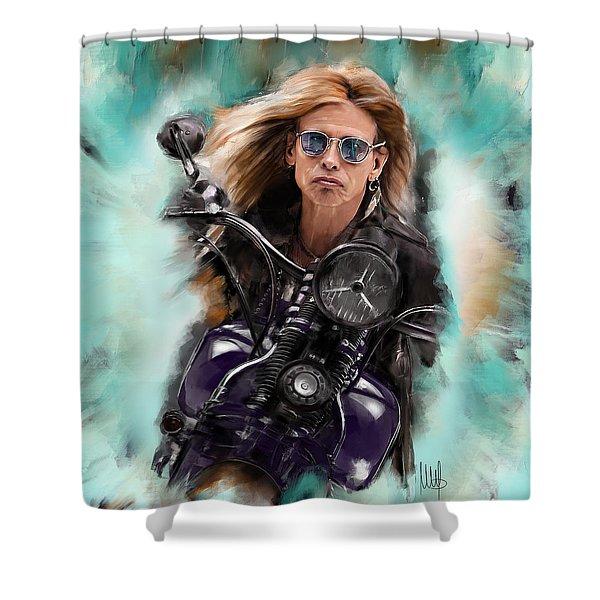 Steven Tyler On A Bike Shower Curtain