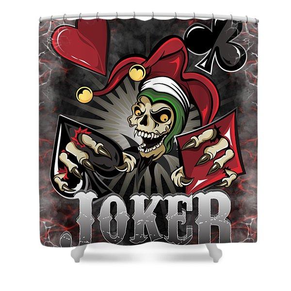 Joker Poker Skull Shower Curtain