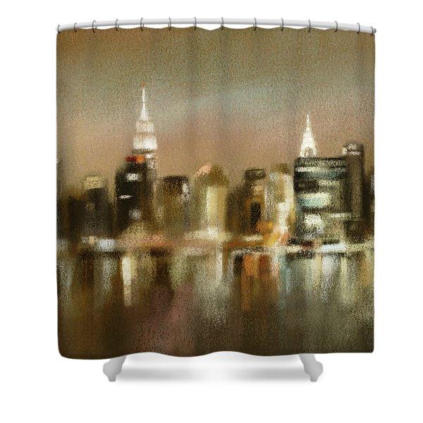 Luminous New York Skyline  Shower Curtain