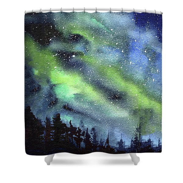 Galaxy Watercolor Nebula Northern Lights Shower Curtain