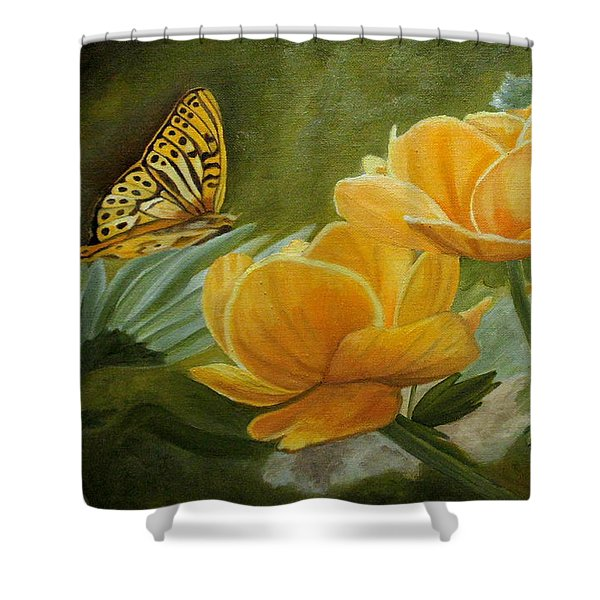 Butterfly Among Yellow Flowers Shower Curtain