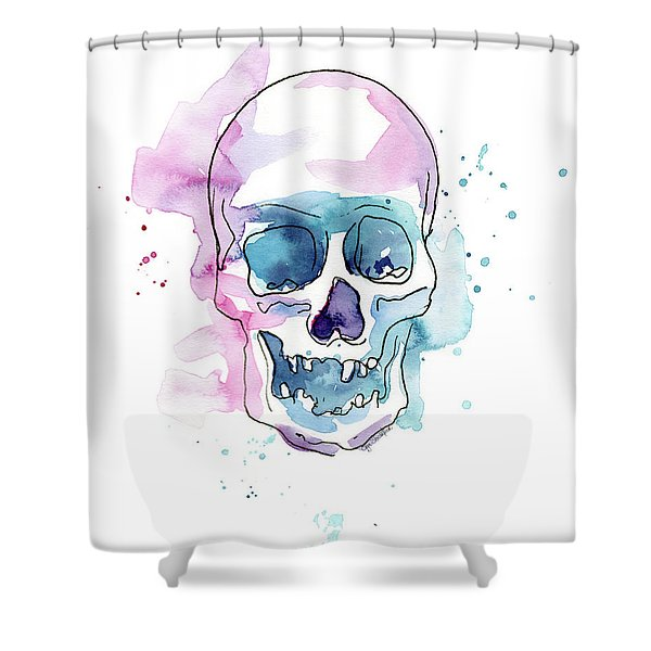 Skull Watercolor Abstract Shower Curtain
