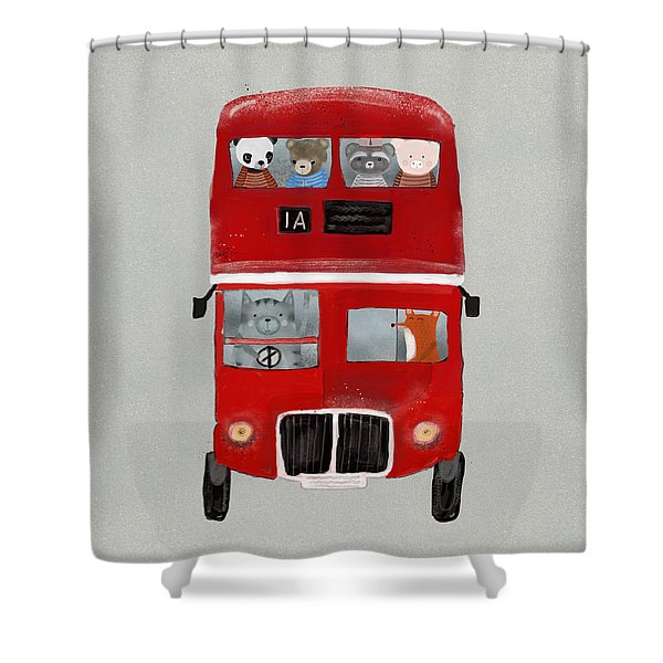 The Little Big Red Bus Shower Curtain