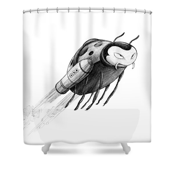 Lady Rocket Bug Shower Curtain