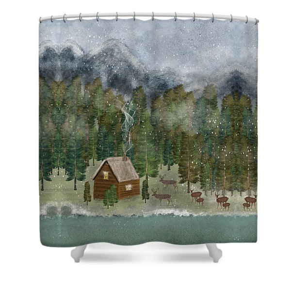 Happy In The Wilderness Shower Curtain