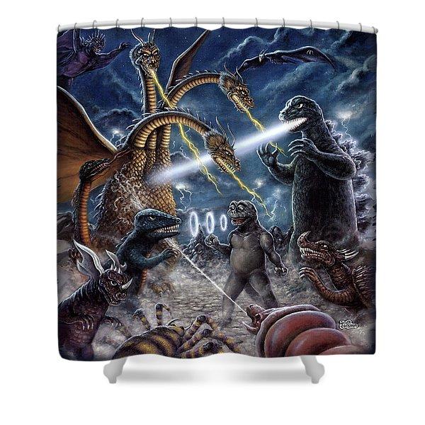 Destroy All Monsters Godzilla Kaiju Battle Monster Island  Shower Curtain