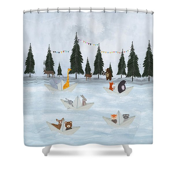 The Great Paper Boat Race Shower Curtain