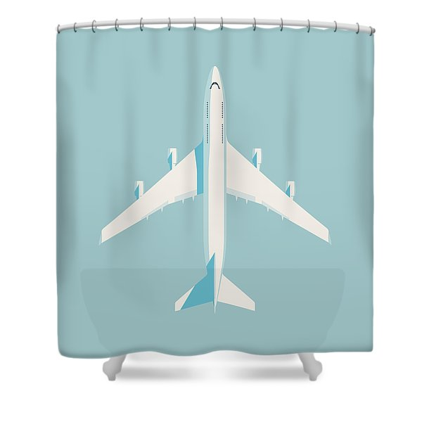 747 Jumbo Jet Airliner Aircraft - Sky Shower Curtain