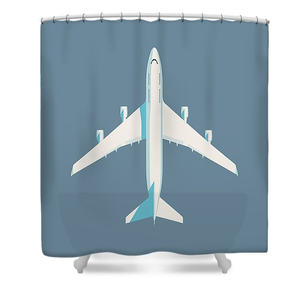 747 Jumbo Jet Airliner Aircraft - Slate Shower Curtain