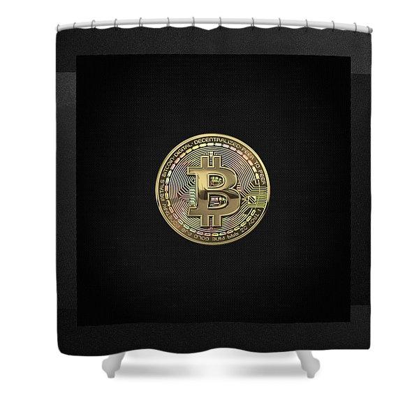 Gold Bitcoin Effigy Over Black Canvas Shower Curtain
