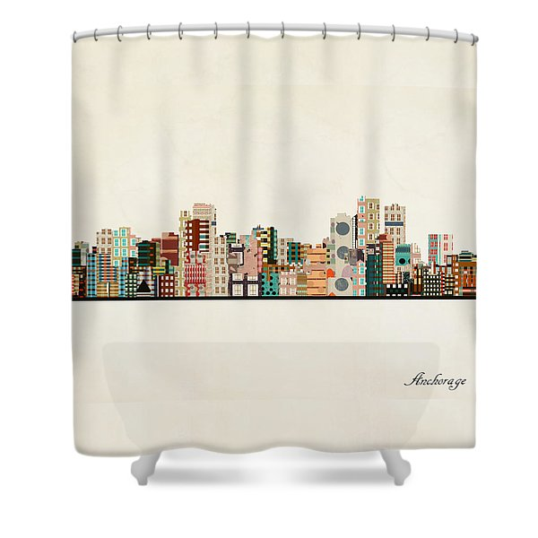 Anchorage Alaska Skyline Shower Curtain