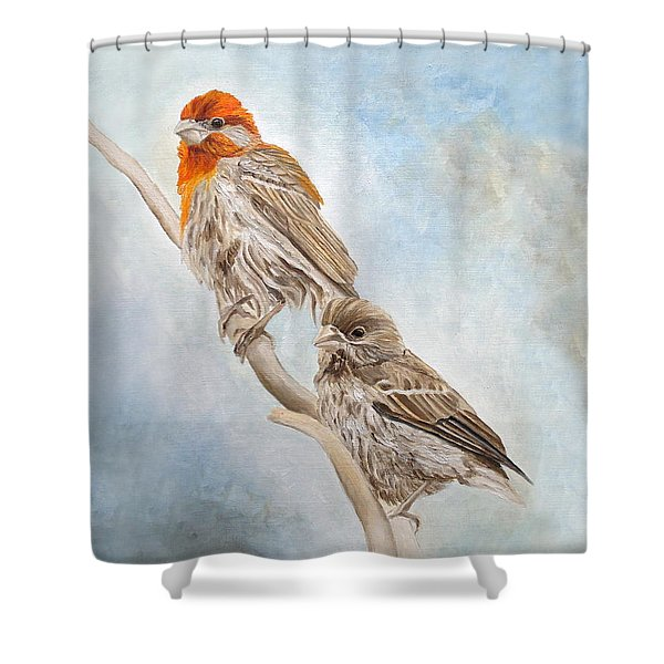 House Finch Couple Shower Curtain
