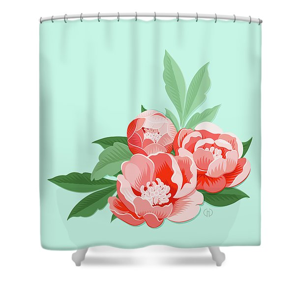 Peonies And Mint Shower Curtain