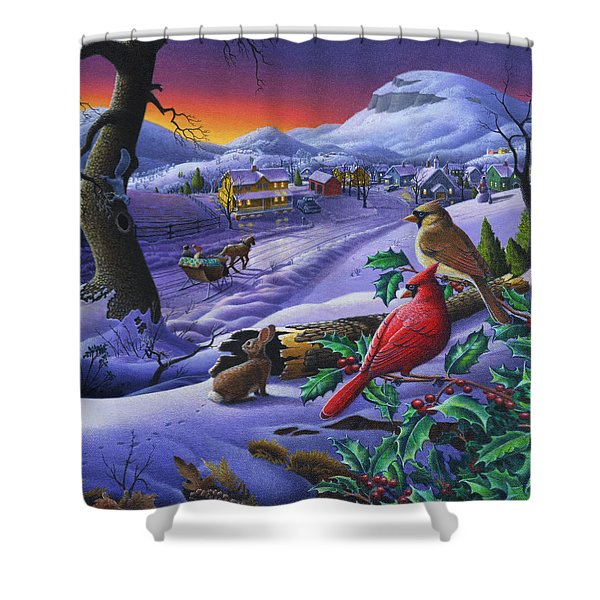 Christmas Sleigh Ride Winter Landscape Oil Painting - Cardinals Country Farm - Small Town Folk Art Shower Curtain