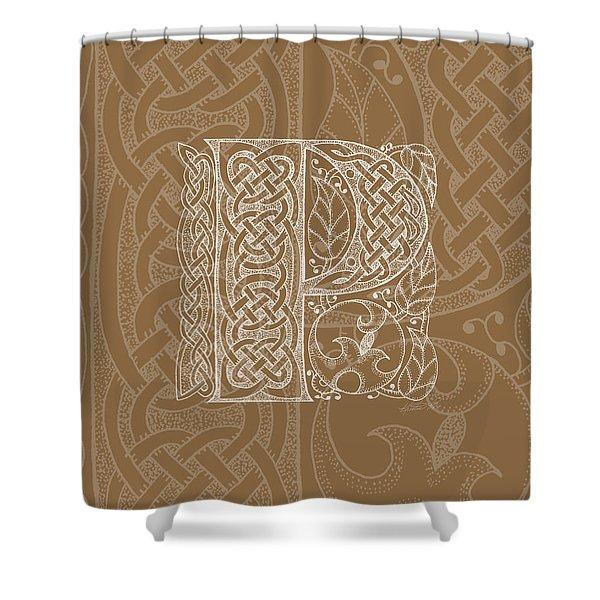 Celtic Letter P Monogram Shower Curtain