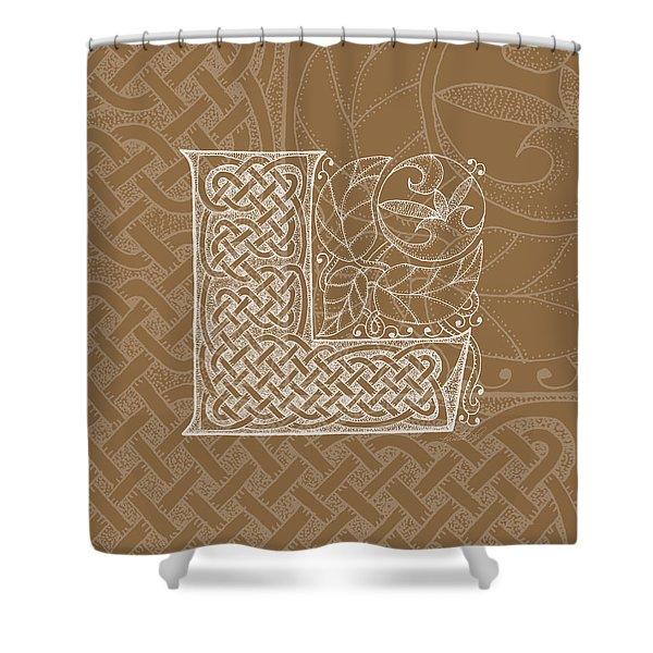 Celtic Letter L Monogram Shower Curtain