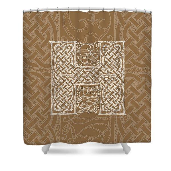 Celtic Letter H Monogram Shower Curtain