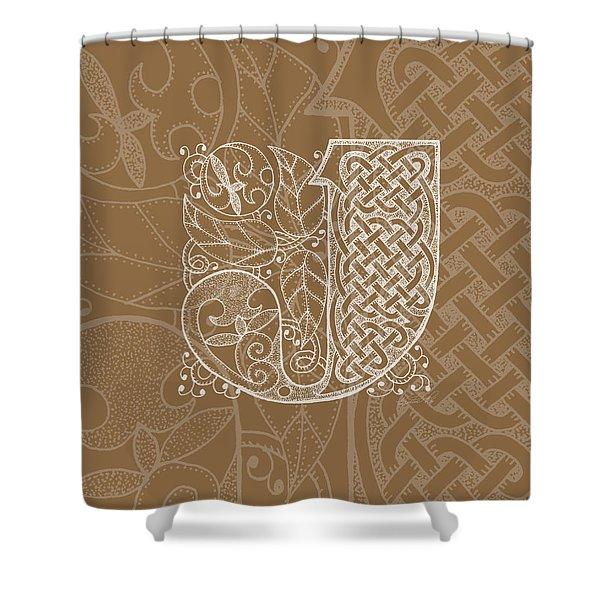 Celtic Letter J Monogram Shower Curtain