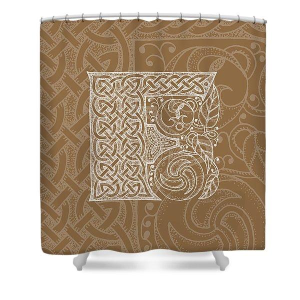Celtic Letter F Monogram Shower Curtain