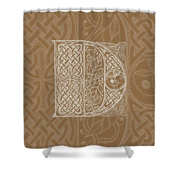 Celtic Letter D Monogram Shower Curtain