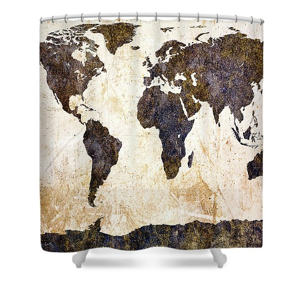 World Map Abstract Shower Curtain