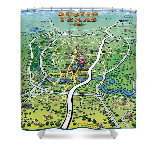 Austin Tx Cartoon Map Shower Curtain