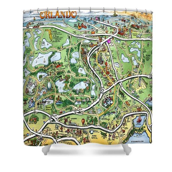 Orlando Florida Cartoon Map Shower Curtain