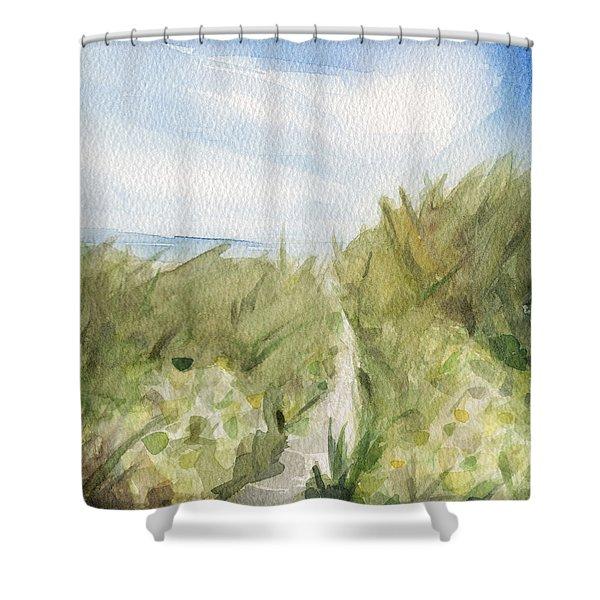 Footpath Through Dunes Cape Cod Beach Painting Shower Curtain