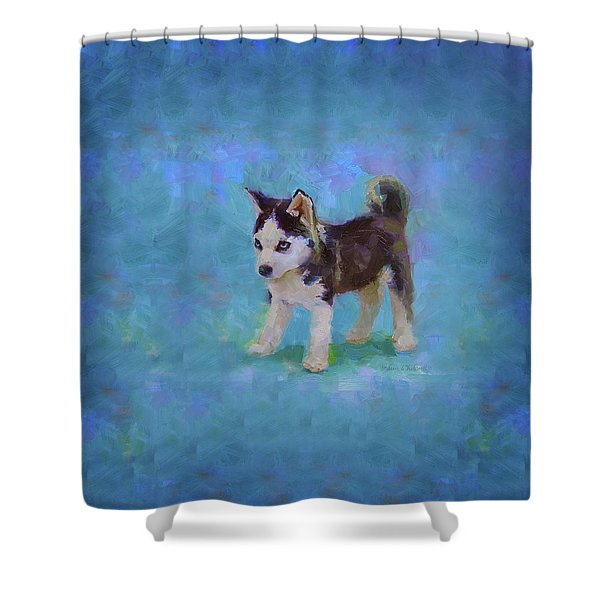 Alaskan Husky Sled Dog Puppy Shower Curtain