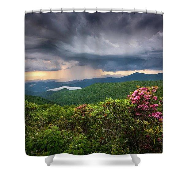 Asheville North Carolina Blue Ridge Parkway Thunderstorm Scenic Mountains Landscape Photography Shower Curtain