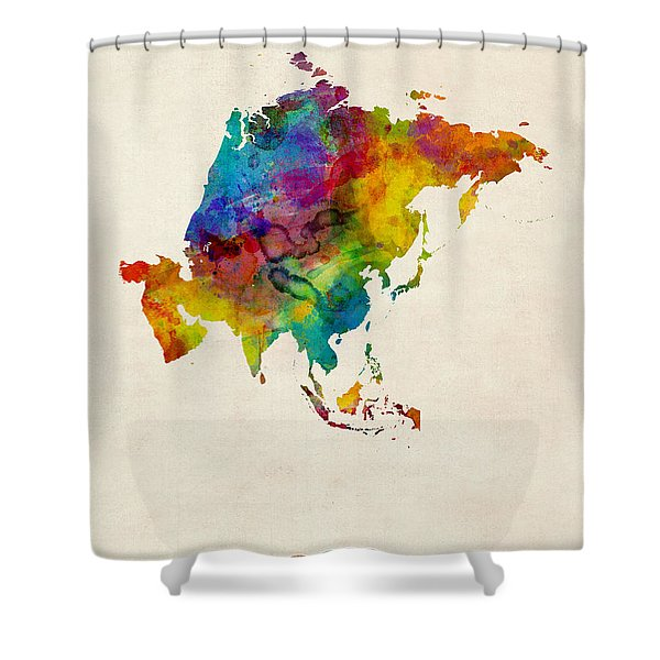 Asia Continent Watercolor Map Shower Curtain