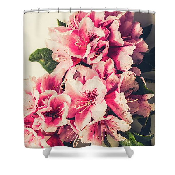 Asian Floral Rhododendron Flowers Shower Curtain